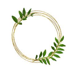 Foto auf Acrylglas Blumen Round glitter frame and green leaves