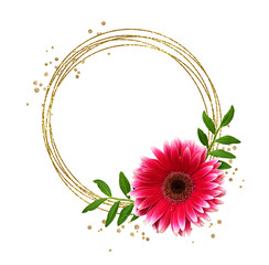 Round glitter frame, gerbera flower and green leaves
