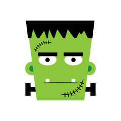 Halloween Frankenstein Vector illustration.  Frankenstein face. Illustration for kids, card Halloween, print.