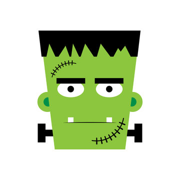 Halloween Frankenstein Vector illustration.  Frankenstein face. Illustration for kids, card Halloween, print.