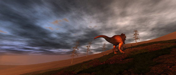Dinosaur Extinction. Extremely detailed and realistic high resolution 3d illustration. Wall mural
