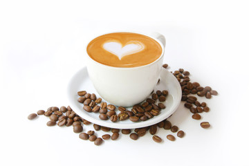 Canvas Prints Cafe Coffee cup with latte art heart shape and beans isolated on a white background.