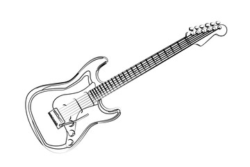 guitar contour vector illustration isolated