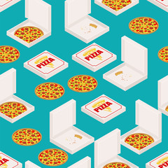Pizza and box pattern seamless. Fast food background. Vector ornament