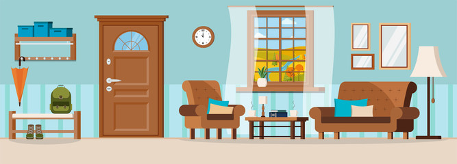 Flat cartoon style vector illustration cozy hallway with furniture, closed door, window view of autumn river landscape.