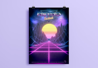 80s Retro Sci Fi Poster Layout
