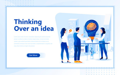 Thinking over an idea flat web page design template of homepage or header images decorated people for website and mobile website development. Flat landing page template. Vector illustration.