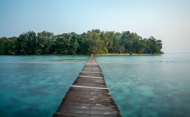 Fotobehang Tropical strand Island dock at Kotok Island, Thousand Island Jakarta, Indonesia. Hope all of you enjoy this picture.