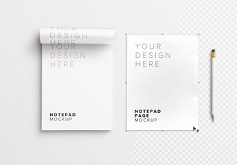 Notepad with Pencil Mockup