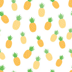 Fresh fruit seamless pattern with pineapples Yellow ananas