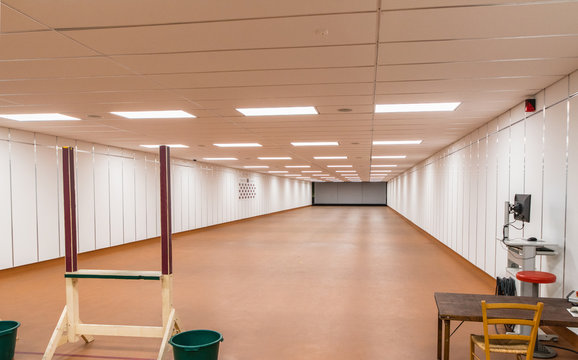 in a large indoor shooting range can train sport shooters