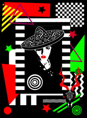 Girl with sombero, Day of the dead background, vivid colors