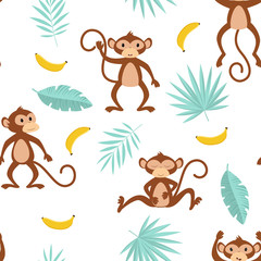 pattern with monkey on white background