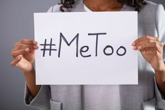 Woman Holding MeToo Hashtag