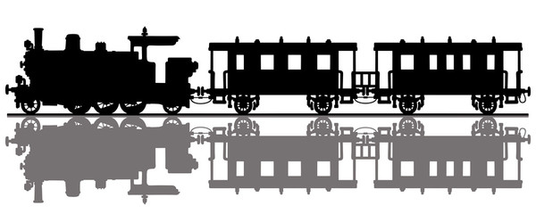 The black silhouette of a vintage passenger steam train