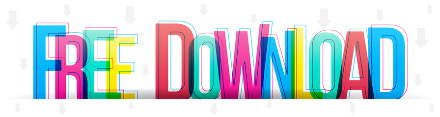 Free Download colorful vector text letters on a white background.