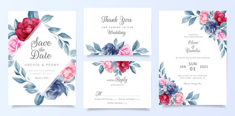 Navy blue wedding invitation card template set with floral frame and decoration. Elegant flowers save the date, invitation, greeting, respond , thank you cards vector