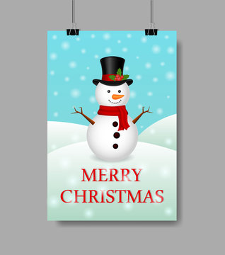 Christmas greeting card with snowman and snowfall.Realistic snowman greeting on Christmas holiday. Design Christmas illustration with snowman and text of Merry Christmas. vector greeting card