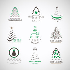 Abstract Christmas Tree Icons. Green Silhouette Set - Isolated On White Background - Vector Illustration. Flat Xmas Tree Icons. Abstract Art. Christmas Pictogram. Modern Christmas Trees Symbol