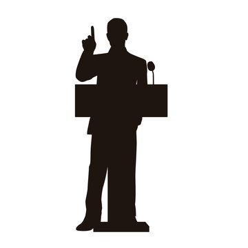 People Give A Speech Silhouette