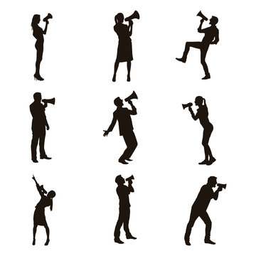 People Using Megaphone Silhouettes