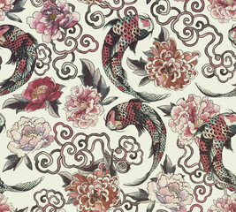 Beautiful trendy Japanese pattern in tattoo style. Seamless wallpaper with asian flowers and  koi