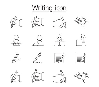 Writing icon set in thin lines style