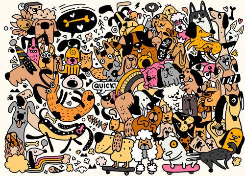 Funny dog  best friends. Happy friendship day, pattern flat cartoon dog funny cute kawaii illustration vector design wallpaper background