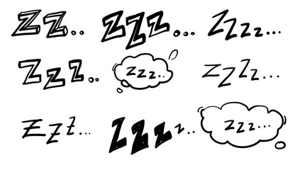 handdrawn zzz symbol for doodle sleep illustration vector