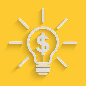 Paper art of light bulb with dollar symbol design, Idea make money business concept