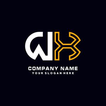 WX initial logo oval shaped letter. Monogram Logo Design Vector, color logo white blue, white yellow,black background.