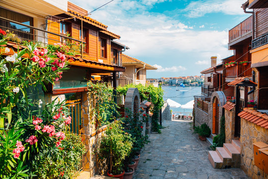 black sea and old town in Sozopol, Bulgaria
