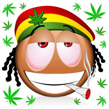 Reggae rastaman black emoji smoking marijuana - cartoon illustration