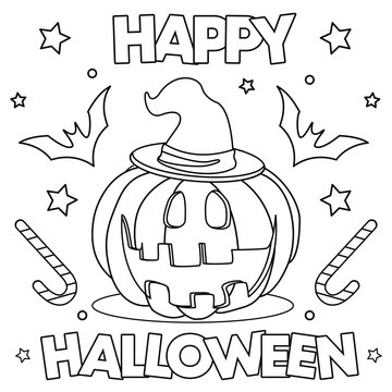 Coloring page. Black and white vector illustration with happy pumpkin in witch hat. Lettering `Happy Halloween`.
