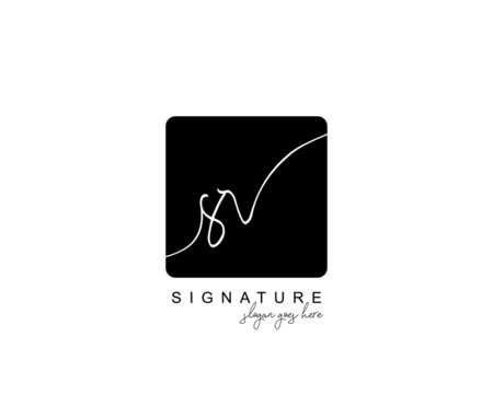 Initial SR beauty monogram and elegant logo design, handwriting logo of initial signature, wedding, fashion, floral and botanical with creative template