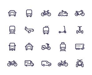 Obraz Transport line icons set, cars, train, airplane, van, bike, motorbike, bus, taxi, tuk tuk, quad bike, subway, public transportation - fototapety do salonu