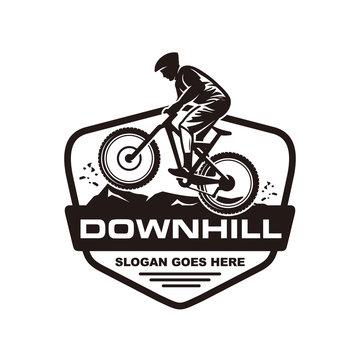 Downhill mountain bike logo vector