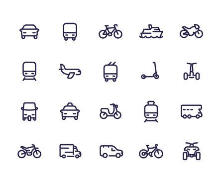 Transport line icons set, cars, train, airplane, van, bike, motorbike, bus, taxi, tuk tuk, quad bike, subway, public transportation