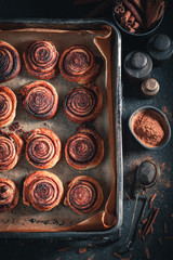 Homemade cinnamon rolls made of puff pastry for Christmas
