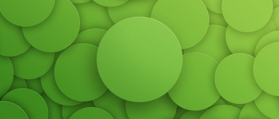 Green circle abstract banner template, horizontal advertising banner. Green abstract light background for cosmetic mockup. 3D illustration