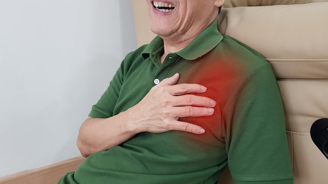 Old man has chest pain and painful facial expression. Chest pain symptom may be from medical emergency heart disease as angina, myocardial infarction, acute coronary syndrome, pericarditis disorder.