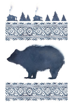 Watercolor illustration in blue colors with the silhouette of a bear and a northern pattern.