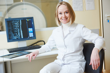 female tomography or MRI test doctor portrait