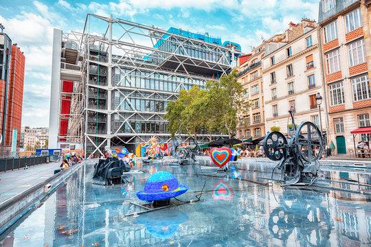 26 July 2019, Paris, France: Modern art Sculptures in the Stravinsky fountain near Centre Pompidou
