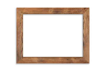 Wood picture frame isolated on white background with clipping path . Image display concept