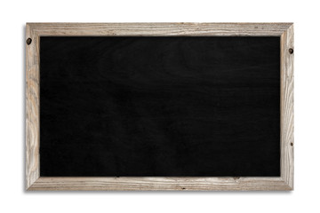 A black chalkboard on a white background and a wooden frame with clipping path . Promotion and details concept