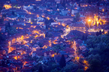 Aluminium Prints Eastern Europe Aerial panorama of Brasov at dawn