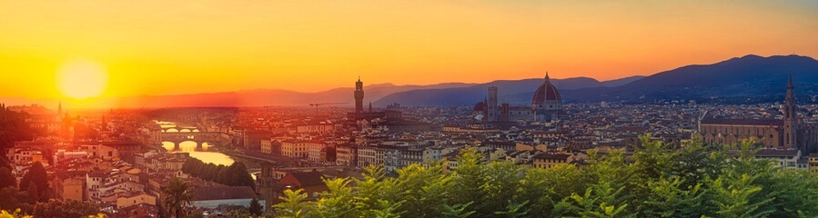Wall Mural - Huge 100M Pixels Panorama of Firenze, Florence Italy shot from viewpoint Piazzale Michelangelo