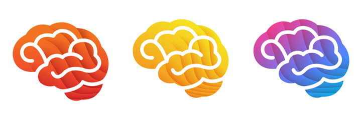 Colorful Brain icon. Red, Yellow, Blue gradient colors brain illustration isolated on white background. Wall mural