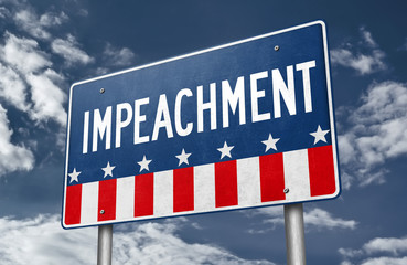 Road sign board with the word IMPEACHMENT